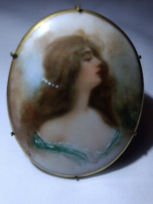 vintage hand-painted portrait of woman on porcelain w/ brass back & C clamp