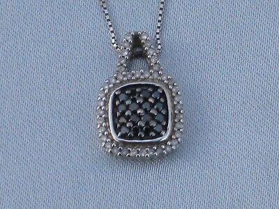 ~Sterling Silver Necklace With Black & White Diamonds~NEW WITHOUT TAG~