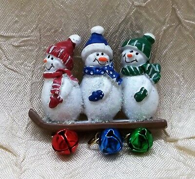 Three Snowmen On Board with Bells Christmas Pin Holiday