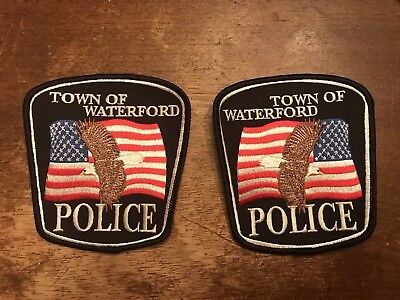 Wisconsin Police Patches - Waterford Police - Mirrored Set Of 2!!