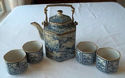 The Toscany Collection Japan Hexagon Blue and White Tea Pot with 4 Cups