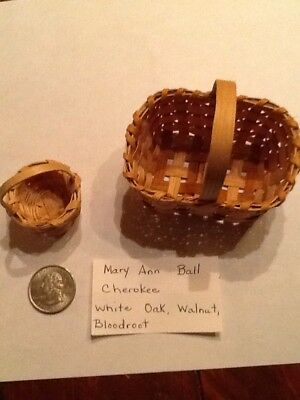 Vintage Native American Cherokee Indian Handmade Sm Baskets Weaver Mary Ann Ball