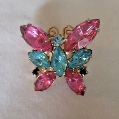 """Vtg Pink/turquoise Glass Rhinestone Butterfly Brooch/pin...gold Plated..1"""" X 1"""""""