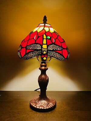 "14"" Tiffany Table Lamps Red Leadlight Stained Glass Crystal Bead Dragonfly Style"