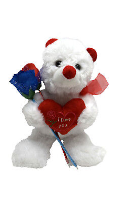 I Love You Plush Red White Plush Teddy Bear 14.5 Inches Two Rose Ink Pens 333