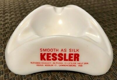 KESSLER VINTAGE Glass ASHTRAY Unused SMOOTH AS SILK Whiskey 70s Mancave Bar