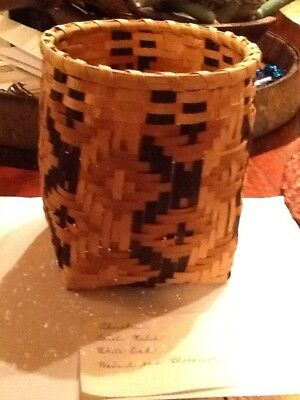 Vintage Native American Cherokee Indian Handmade 6in Basket Weaver Carol Welch