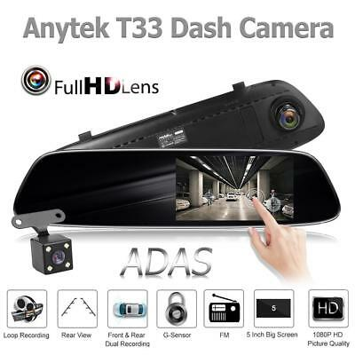 Anytek T33+ 5.0 Inch Car Rearview Mirror DVR Camera ADAS Dash Cam Video Recorder