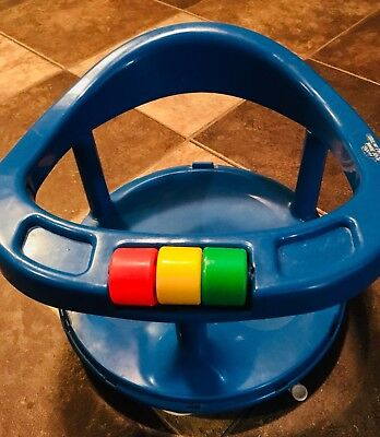 Vintage Safety 1st Baby Infant Blue Bath Swivel Seat Chair Support Suction 1989