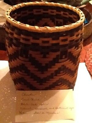 Vintage Native American Cherokee Indian Handmade 7in Basket Weaver Carol Welch