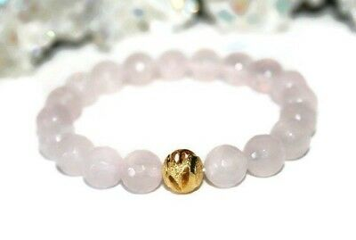10mm Bead Rose Quartz Bracelet for Women Healing Crystals and Stone Jewelry 24k