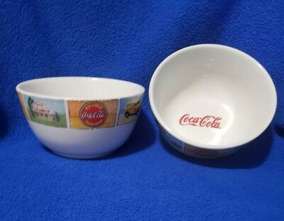 "Set of 2 Vintage Gibson Coca-Cola Good Ol' Days Mixing Serving Bowls 6"" diameter"