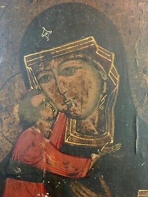 ANTIQUE 19th CENTURY RUSSIAN  ICON OF MOTHER OF GOD AND CHILD