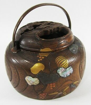 Antique Japanese Incense Burner Censer Wood Copper Inlay Abalone Brass Handle