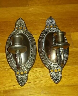 "Vintage Pair Of 2 Solid Brass Wall Single Candlestick Holders Sconces 9"" tall"