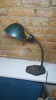 Vintage Antique Rex Electric Gooseneck Desk Lamp Art Deco Cast Iron Base