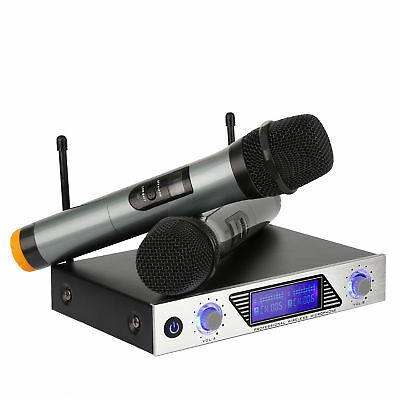ARCHEER VHF Wireless LCD Microphone System W/ Dual Handheld Microphones For KTV