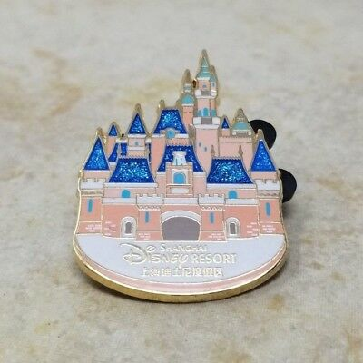 Pin Trading Disney Pins Shanghai Disneyland Resort Pink Castle Blue Glitter 2016