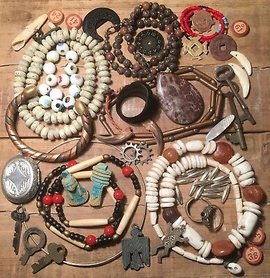Lg Lot Ethnic Tribal Jewelry Shell Silver Stone Antique Naga Necklace Beads Ring