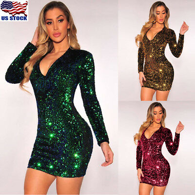 Women Sexy Sequin Bodycon Dress Long Sleeve Ladies Clubwear Party Mini Dress