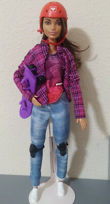 Mattel Barbie Made to Move 2016 Ultimate Posable Skateboarder Doll DVF70 RARE