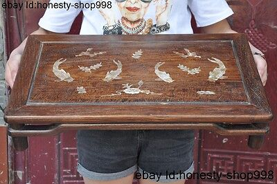 China Palace Huanghuali wood Inaly shell Goldfish Fish Statue Ancient Table Desk