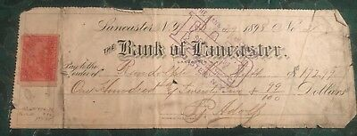 The Bank of Lancaster check, 1898 with IRS Revenue Stamp, R164 Carmine Rose