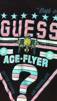 VTG 80s GUESS Georges Marciano T-Shirt 1987 Triangle Airplane Ace-flyer USA LOGO
