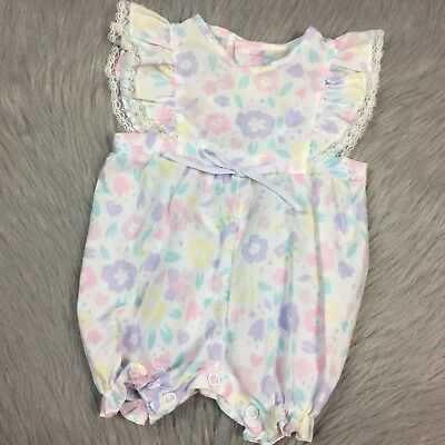 Vintage Baby Girls Pastel Pink White Purple Floral Flutter Sleeve Ruffle Romper