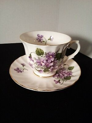 Golden Crown E&R Purple Flower Floral Bone China Cup and Saucer, Made in England