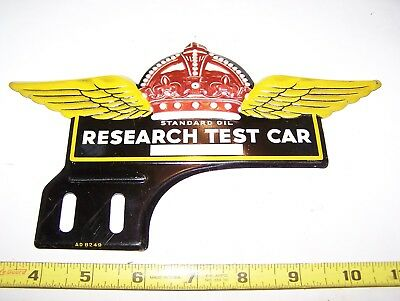 RARE Original STANDARD Gas Oil RED CROWN License Plate Topper Research Test Car