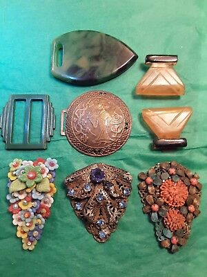 Antique Clips& Buckles- Glass, Early Plastics Etc.
