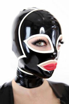 Sexy Black Latex Mask Rubber Hood Open Eye And Mouth  Catsuit Wear Unique