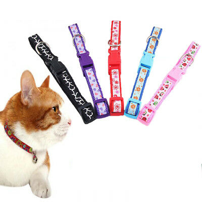 1PC Reflective Cat Collar Safety Buckle Small Dog Puppy Cat Collar with Bell