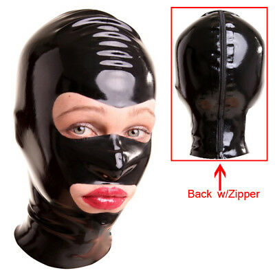 Sexy Black Latex Hood  Rubber Mask Open Eye And Mouth for Party Wear Catsuit