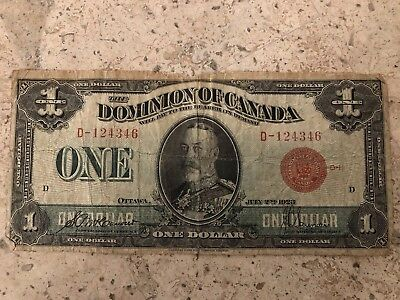 1923 $1 One Dollar Dominion Of Canada Red Seal Banknote