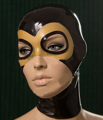 Sexy Latex Hood  Rubber Mask Open Eye And Mouth for Party Wear Catsuit Unique