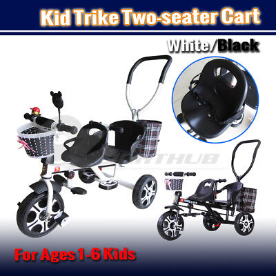 Twin Seaters Baby Kids Tricycle Bike Ride-On Stroller Bicycle Toddler Child