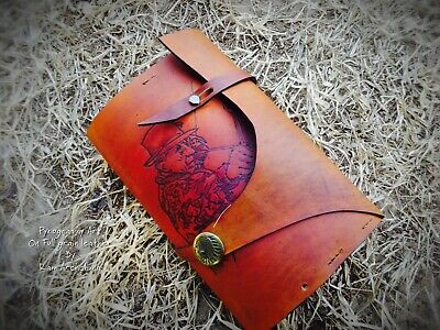INSTOCK Pyrography Personal Custom book/Diary/Journal Cover FULL GRAIN LEATHER