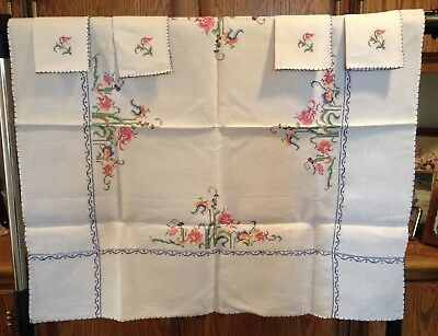Vintage Hand-Embroidered Linen Card Table Tablecloth w/ 4 Matching Napkins