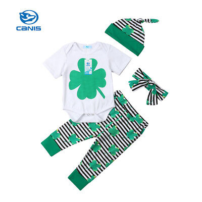 4Pcs Newborn Infant Baby Boy Girl St.Patrick's Day Romper+Pants Hat Outfits Set