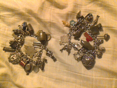 2 Estate Sterling Bracelets 45 Articulating & Charms From Around The World Charm