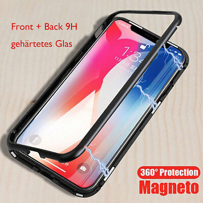 Magnetische Adsorption Glas Metall Schutzhülle Case Cover iPhone 7 8P XR XS MAX