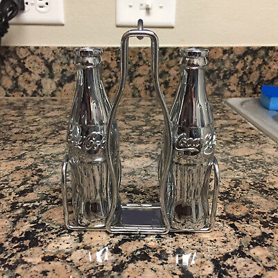 1998 The Coca Cola Co. Chrome Plated Salt N Pepper Shakers With Stand
