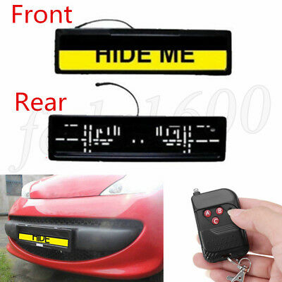 Euro License Plate Roller Drop Hide Stealth Shutter Car Privacy Protect Cover 2x