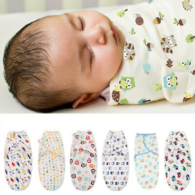 Baby Infant Swaddle Wrap Blanket Sleeping Bag For 0-6 Months Cotton