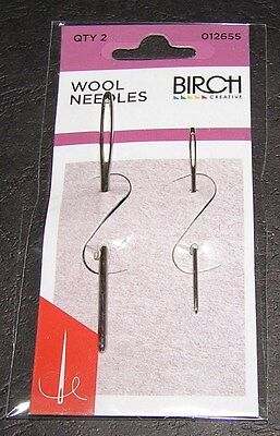 2 Wool Needles Hand Sewing Big Eye Birch Quality Knit Tapestry 13 18 Embroidery