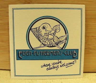 Eden isherman's club cardboard coaster x  square mancave bar fish always welcome