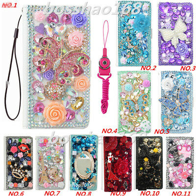 Leather Flip Bling Diamond Wallet Case Girls Cover For iPhone 7 8 XS XS MAX XR