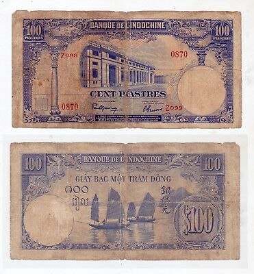 1946 ($100) 100 Piastres (79) INDO-CHINA Single Issue Well Circulated